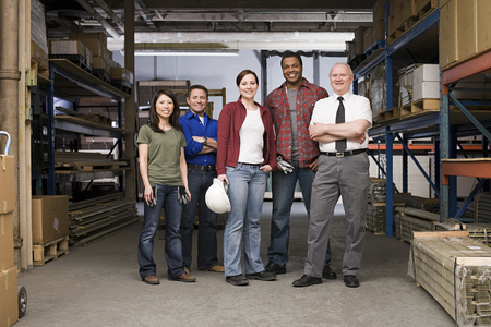 small group: Workers in warehouse