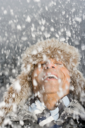 british ethnicity: A man in the snow Stock Photo