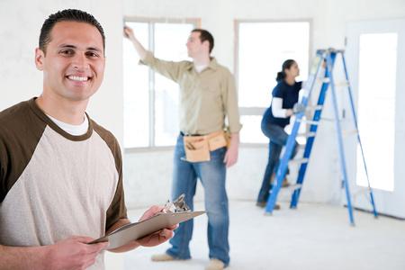 Portret van een bouwer Stockfoto