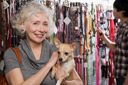 pet shop: Woman and chihuahua in pet shop