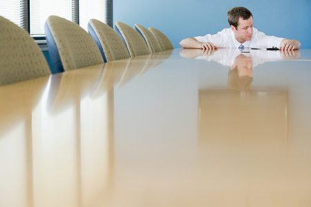 Man in conference room