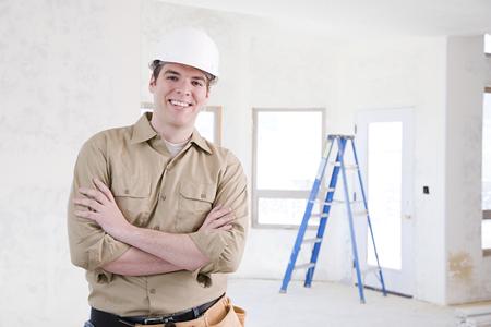 herramientas de construccion: Retrato de un constructor Foto de archivo