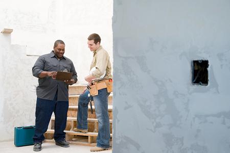 work worker: Builders talking