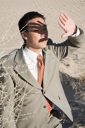 mid distance: Businessman in the desert Stock Photo