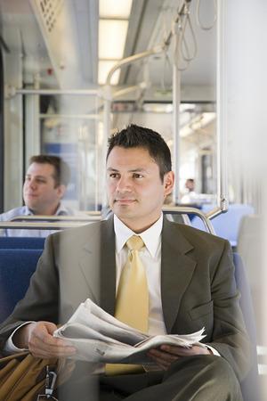Businessman on train