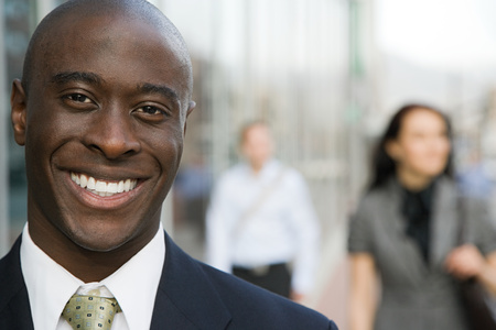 only one man: Businessman smiling Stock Photo