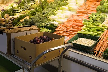 Vegetables on a supermarket shelf