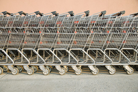 on line: Shopping trolleys in  a row