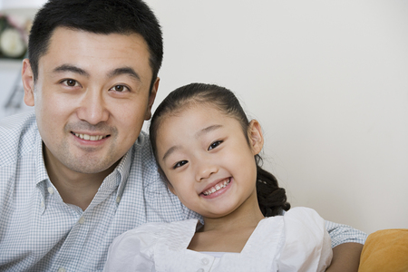 one room school house: Portrait of a father and daughter