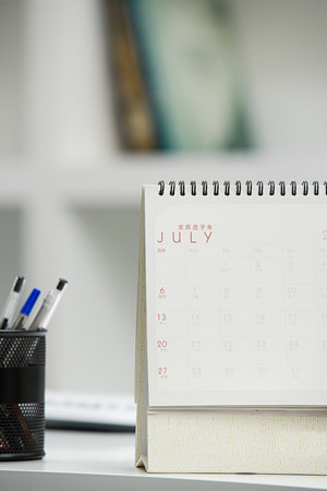 earnest: Calendar on desk Stock Photo