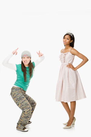 debutante: Skater and prom queen Stock Photo