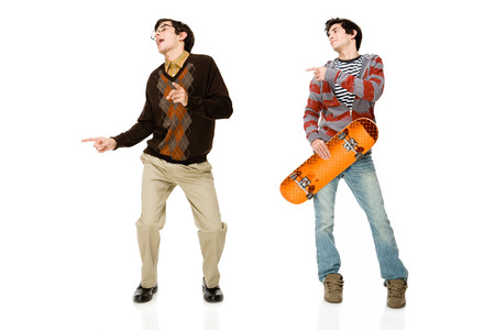 Geek and skater Stock Photo