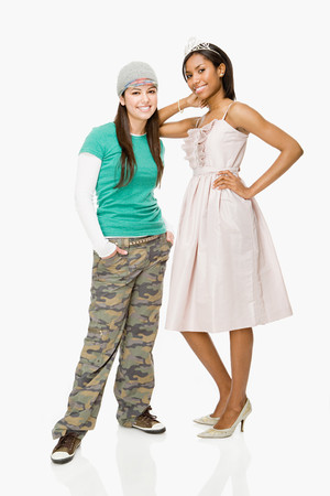 prom queen: Skater and prom queen Stock Photo