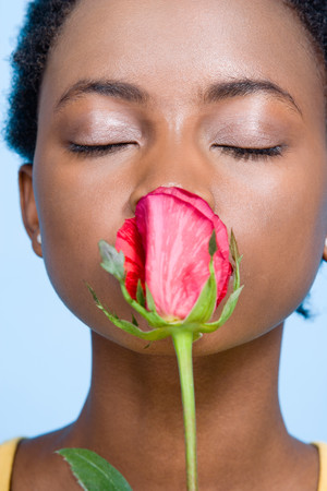 human source: Woman smelling roses Stock Photo