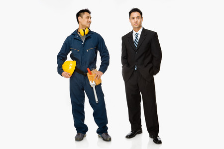 tradespeople: Builder and businessman Stock Photo