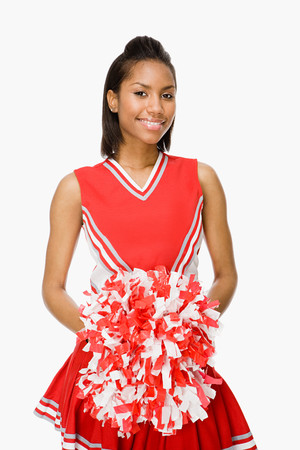 black cheerleader: Cheerleader Stock Photo