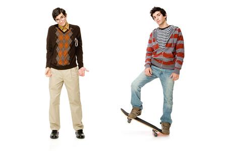 Geek and skater Banco de Imagens
