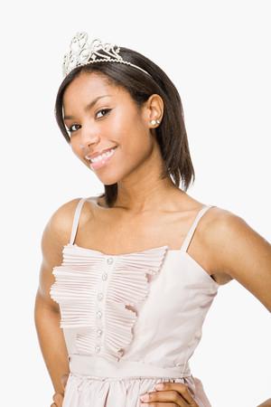 Young woman wearing a tiara Stock Photo