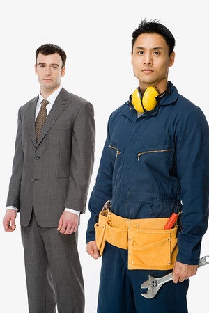 tradespeople: Businessman and workman Stock Photo
