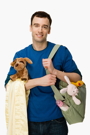 role reversal: Man with baby supplies