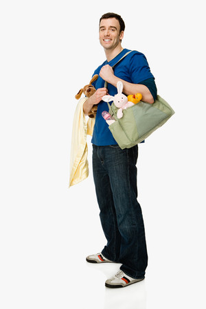 Man with baby supplies
