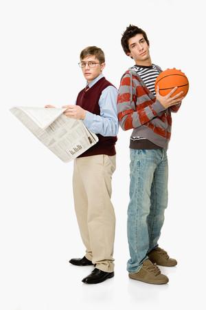 broadsheet newspaper: Geek and basketball player Stock Photo
