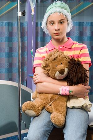 Anxious girl in hospital