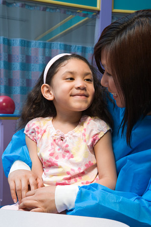 chinese american ethnicity: Smiling girl and nurse