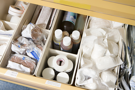 plastic box: Drawer of medical supplies Stock Photo