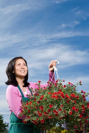 korean ethnicity: Shop assistant holding hanging basket
