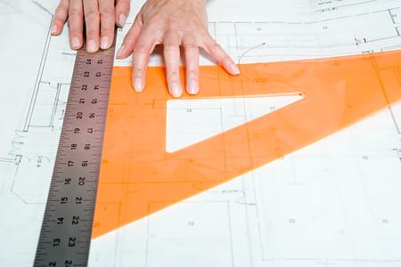 rulers: Architect using rulers Stock Photo