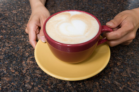 image source: Person holding cappuccino