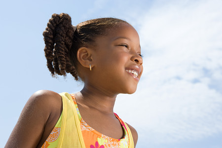 hot day: Profile of a girl Stock Photo