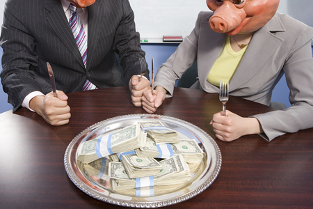 image source: Businesspeople in pig masks sat in front of money