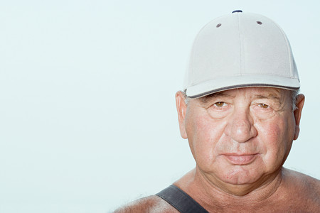 nonsense: Senior man wearing a baseball cap Stock Photo