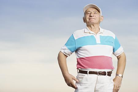 one senior adult man: Senior man smiling Stock Photo