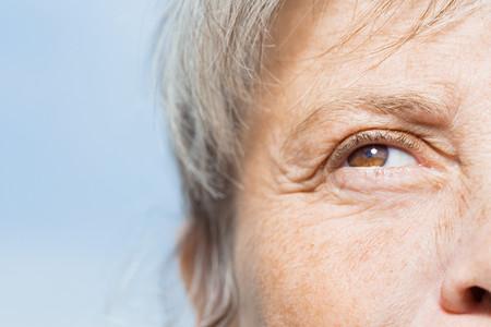 ojos marrones: Detalle de la cara de la mujer Foto de archivo