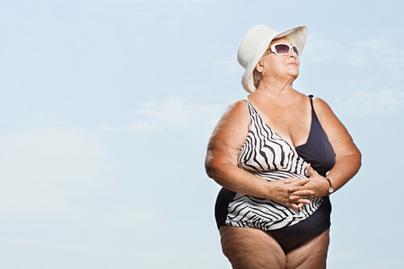 swimming costume: Senior woman wearing a swimming costume