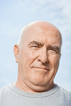 double chin: Portrait of a bald man