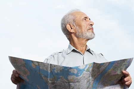 new york map: Man holding a map Stock Photo