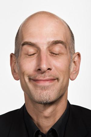 white smile: Portrait of mature adult Caucasian man