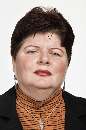 chubby: Portrait of mid adult Caucasian woman