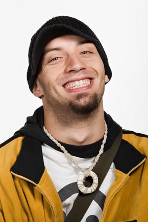 raised eyebrow: Portrait of young adult Caucasian man Stock Photo