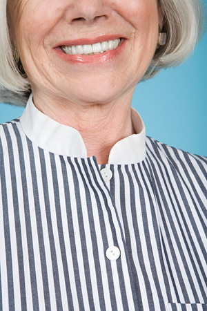 cropped shots: Woman in a striped shirt