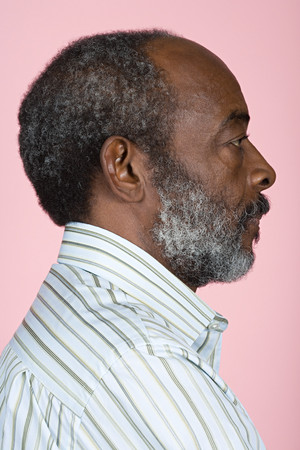man side view: Portrait of a senior adult man