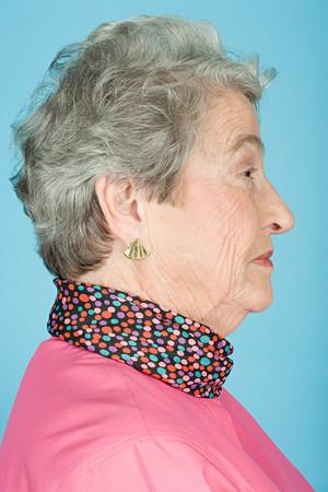 head profile: Portrait of a senior adult woman