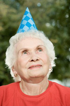 Senior woman at a birthday party
