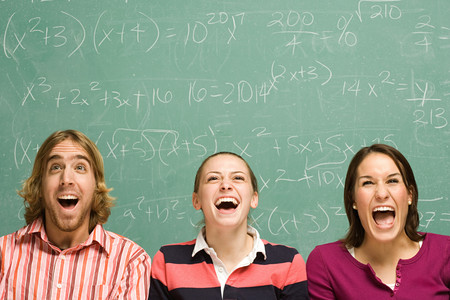 adult student: Three students laughing
