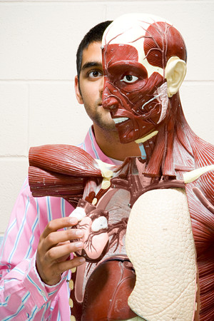 anatomical model: Student using anatomical model Stock Photo