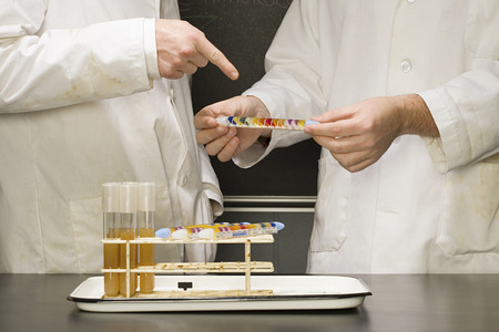 test tube holder: Two students performing an experiment
